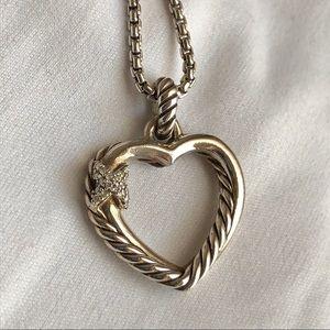 David Yurman Crossover Diamond Heart Necklace